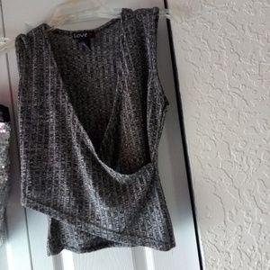 Grey Criss-Cross blouse love